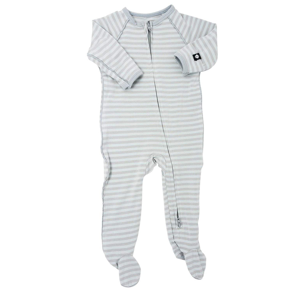 Piped Zipper Footie - Blue & Grey Stripe - Sweet Bamboo