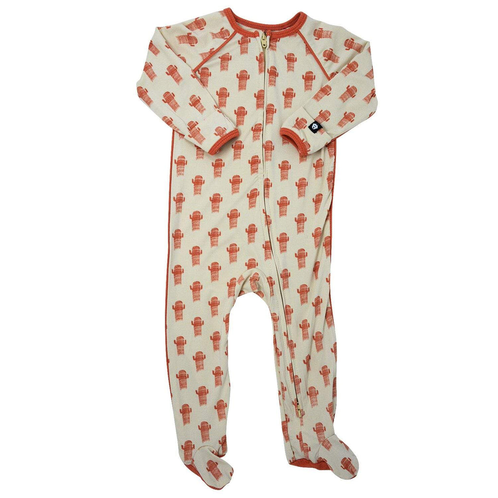 Piped Zipper Footie - Cactus - Sweet Bamboo