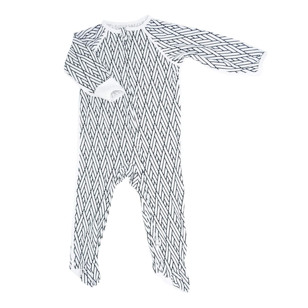 Piped Zipper Footie - Modern Weave White with Black - Sweet Bamboo