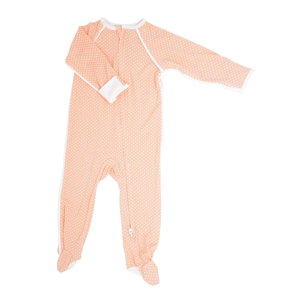 Piped Zipper Footie - Peach Dots - Sweet Bamboo