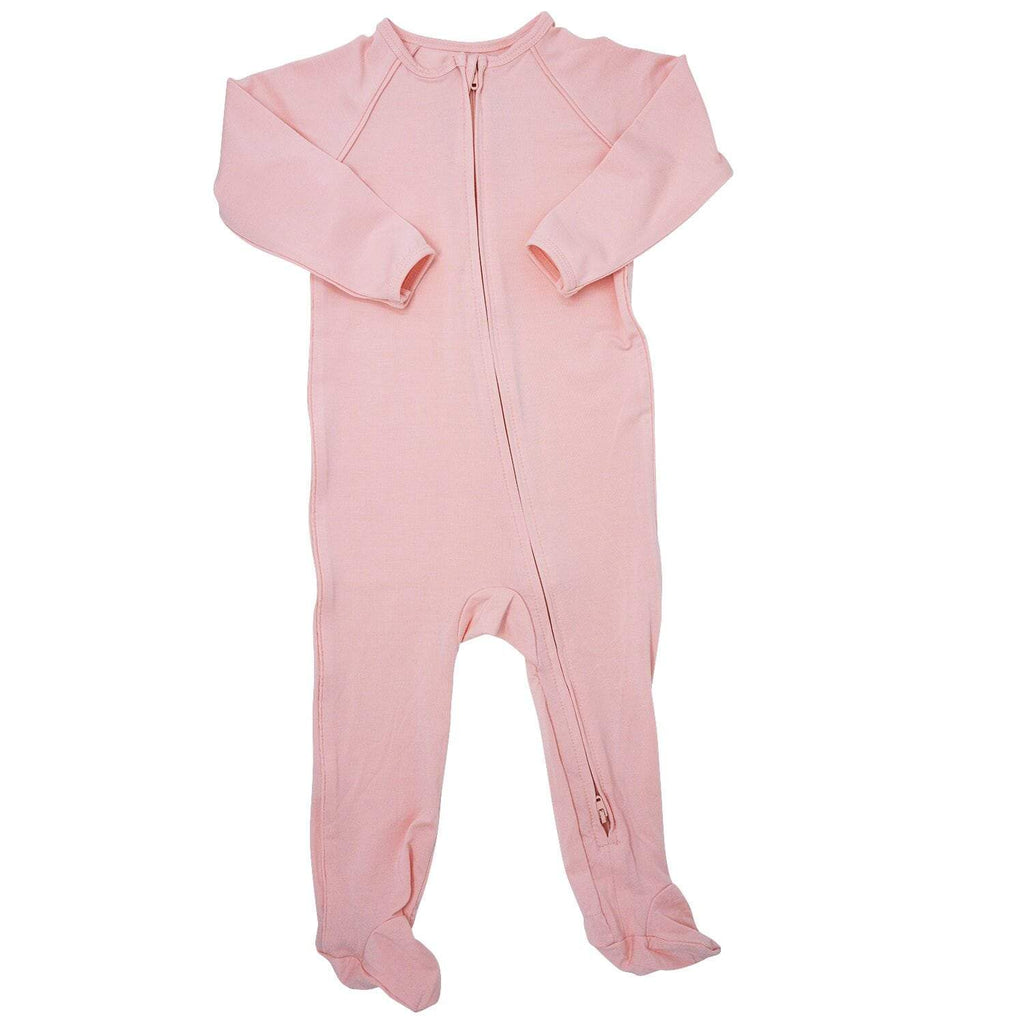 Piped Zipper Footie - Perfect Pink - Sweet Bamboo