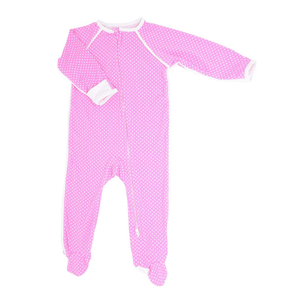 Piped Zipper Footie - Pink Dots - Sweet Bamboo