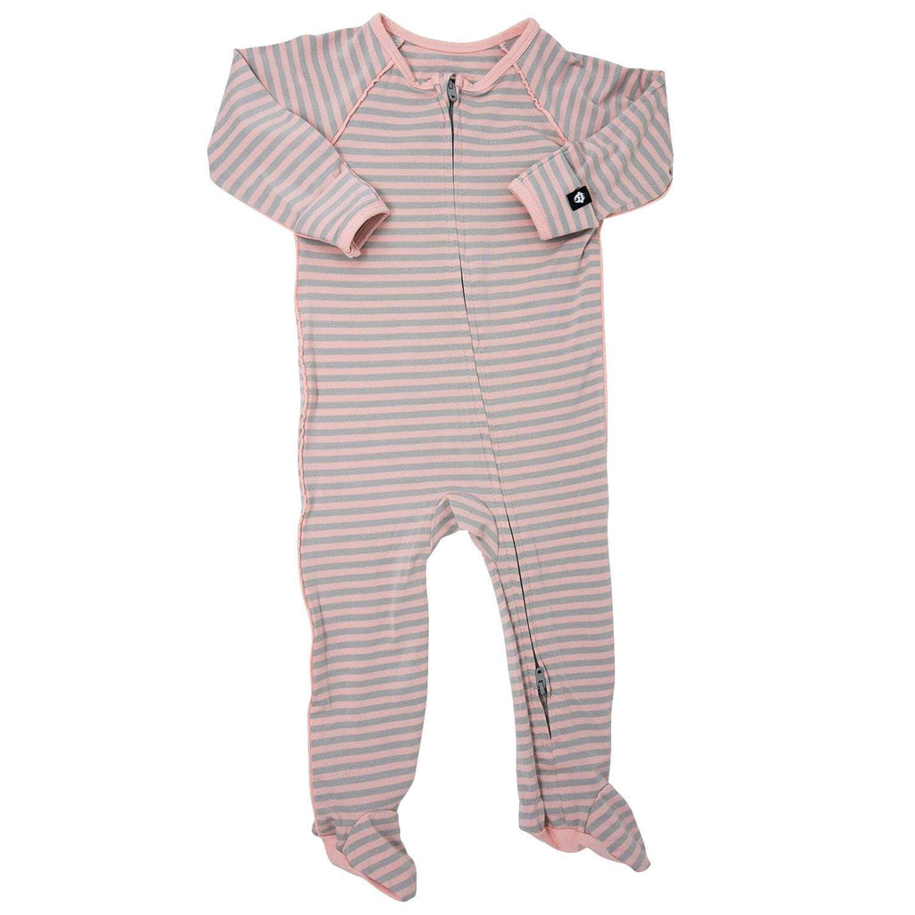 Piped Zipper Footie - Pink & Grey Stripe - Sweet Bamboo
