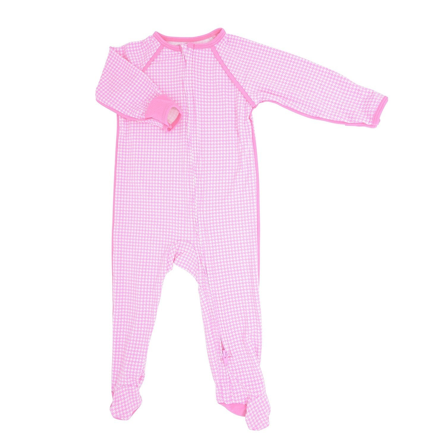 Piped Zipper Footie - Pink Houndstooth - Sweet Bamboo