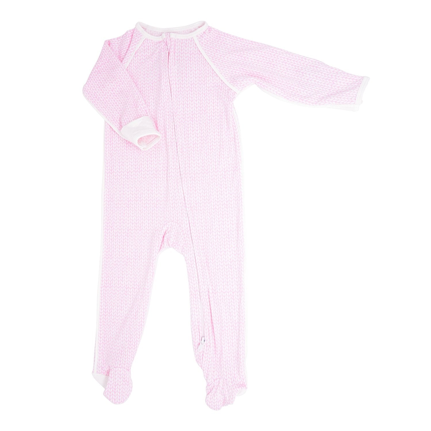 Piped Zipper Footie - Pink Knit Weave - Sweet Bamboo