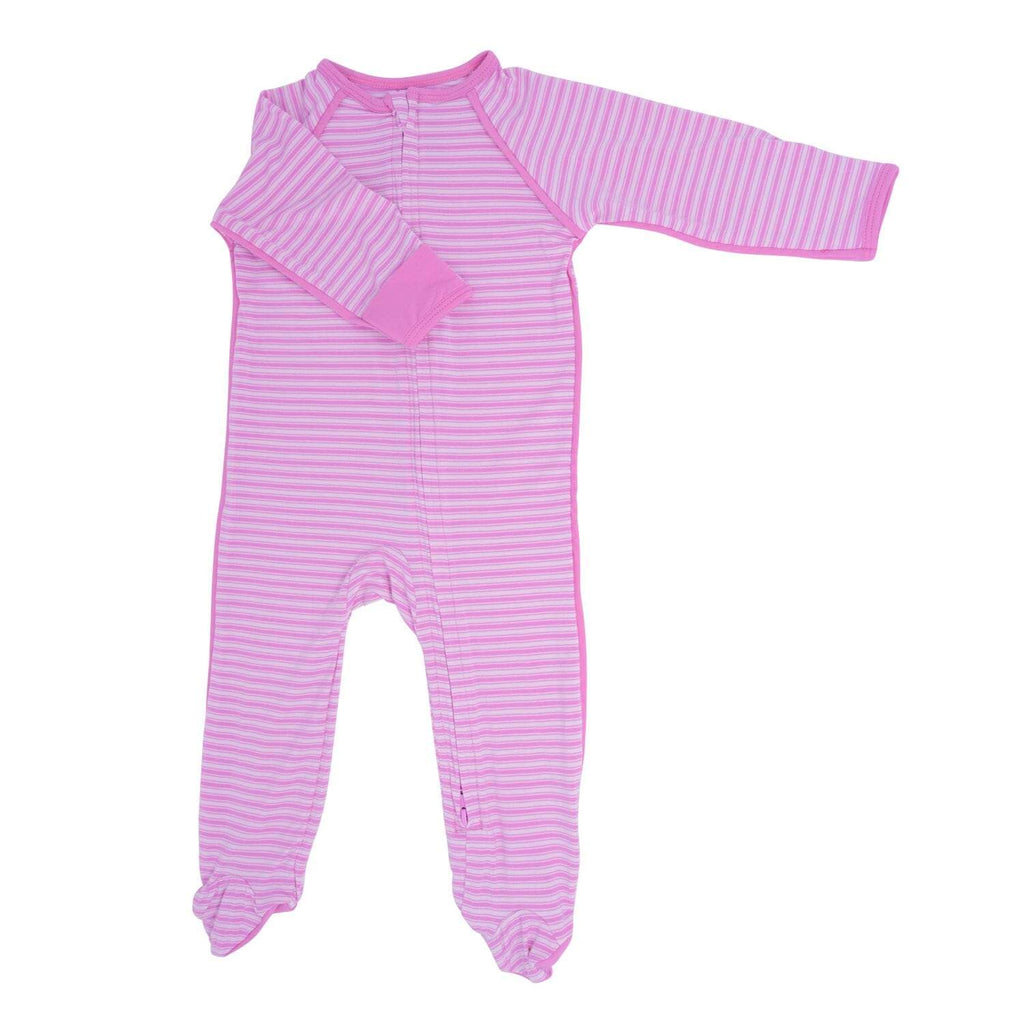 Piped Zipper Footie - Pink Ticking Stripe - Sweet Bamboo