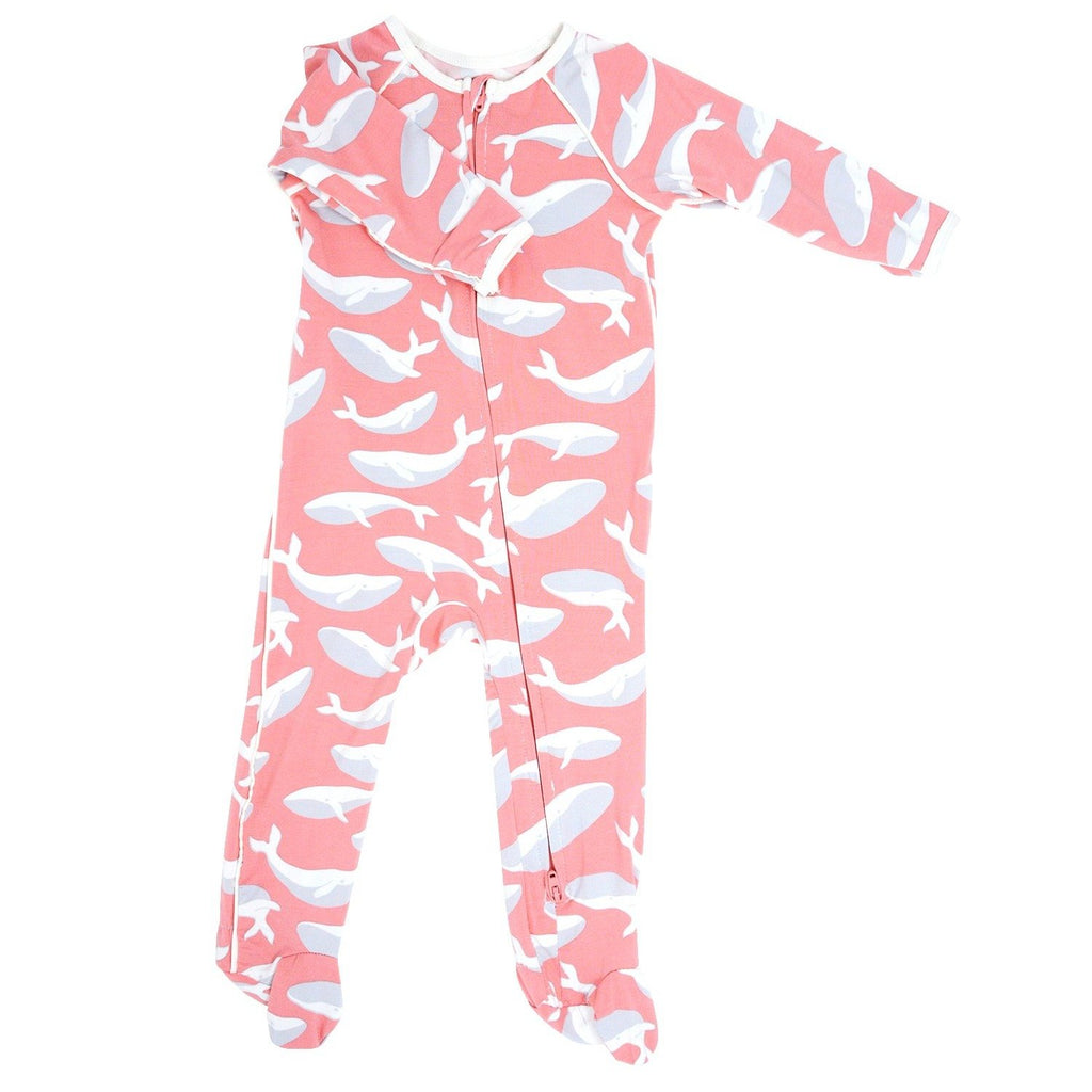 Piped Zipper Footie - Pink Whale Footies sweetbambooclothing