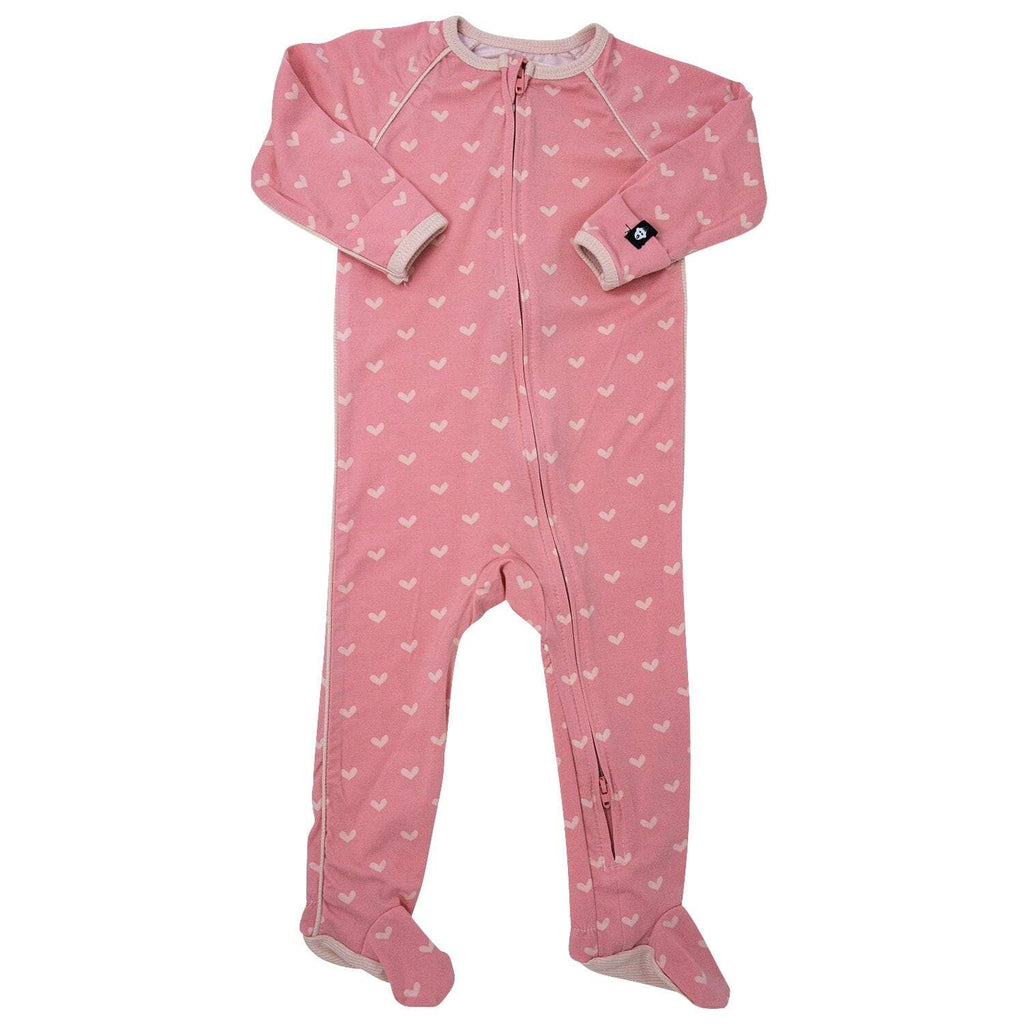 Piped Zipper Footie - Polka Hearts Pink - Sweet Bamboo