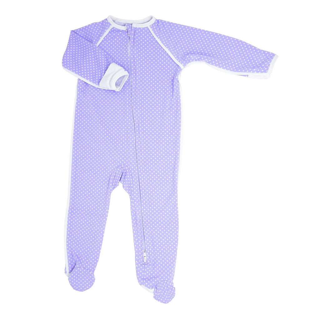 Piped Zipper Footie - Purple Dots - Sweet Bamboo