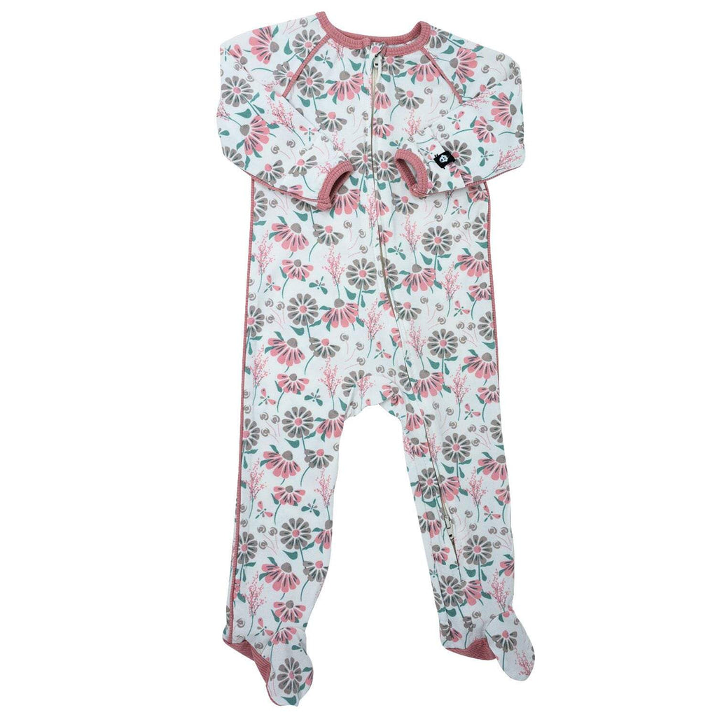 Piped Zipper Footie - Retro Flower - Sweet Bamboo