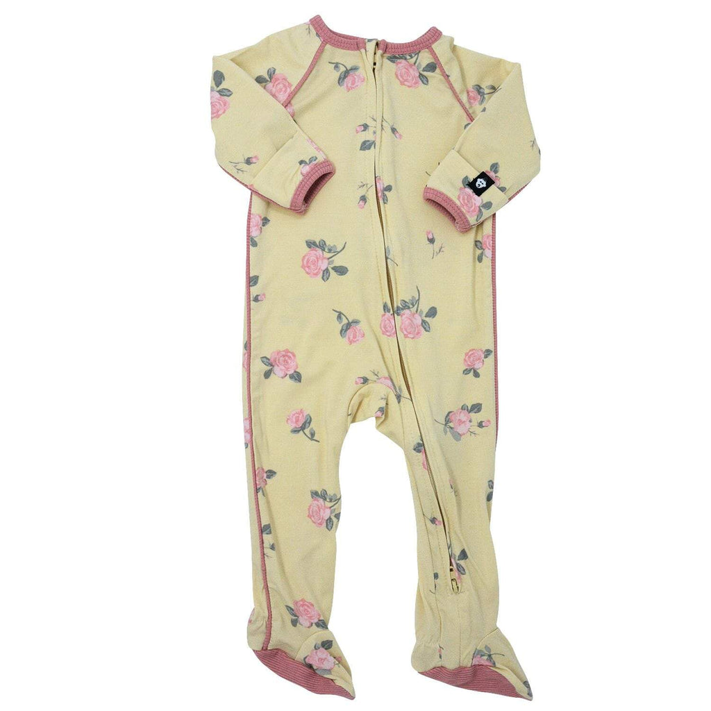 Piped Zipper Footie - Roses Sand - Sweet Bamboo