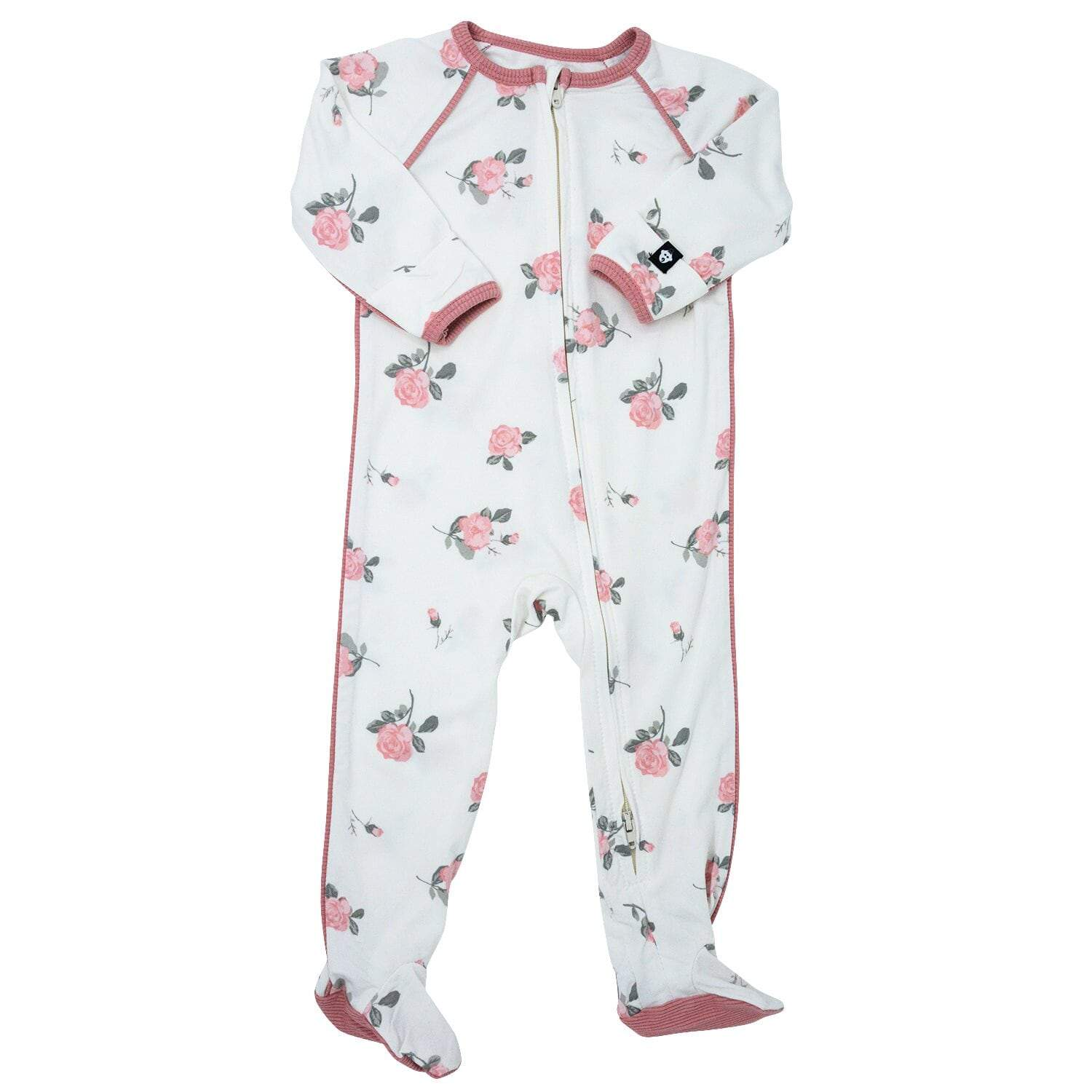Piped Zipper Footie - Roses White - Sweet Bamboo