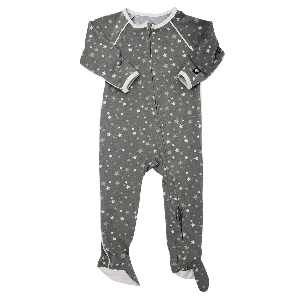 Piped Zipper Footie - Stars Green - Sweet Bamboo