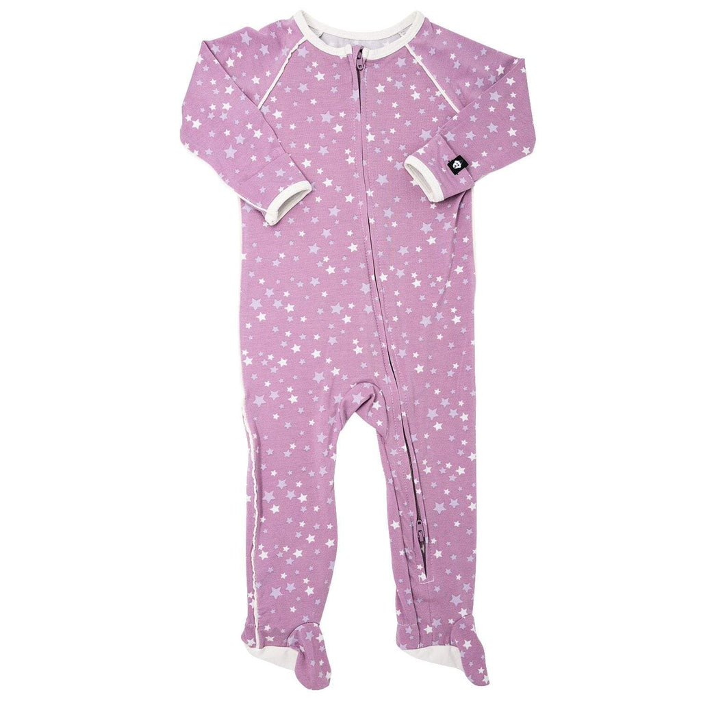 Piped Zipper Footie - Stars Purple - Sweet Bamboo