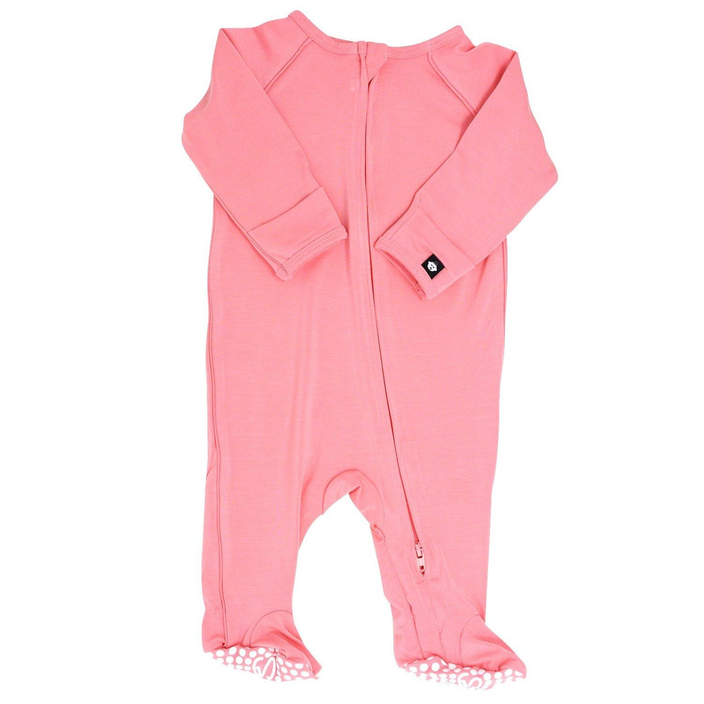 Piped Zipper Footie - Strawberry Pink Footies sweetbambooclothing