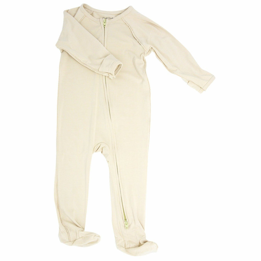 Piped Zipper Footie - Tan Footies sweetbambooclothing