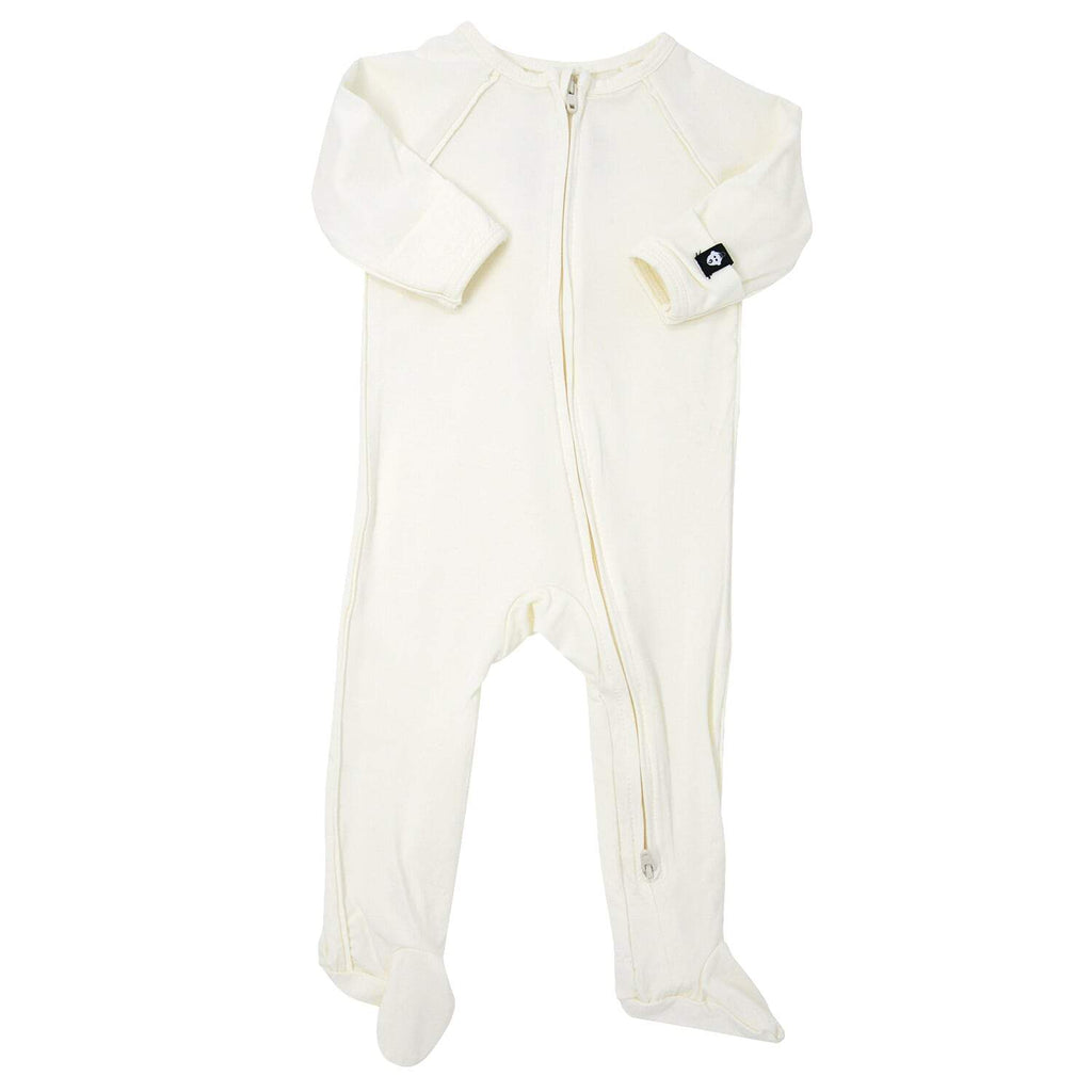 Piped Zipper Footie - Whispery White - Sweet Bamboo