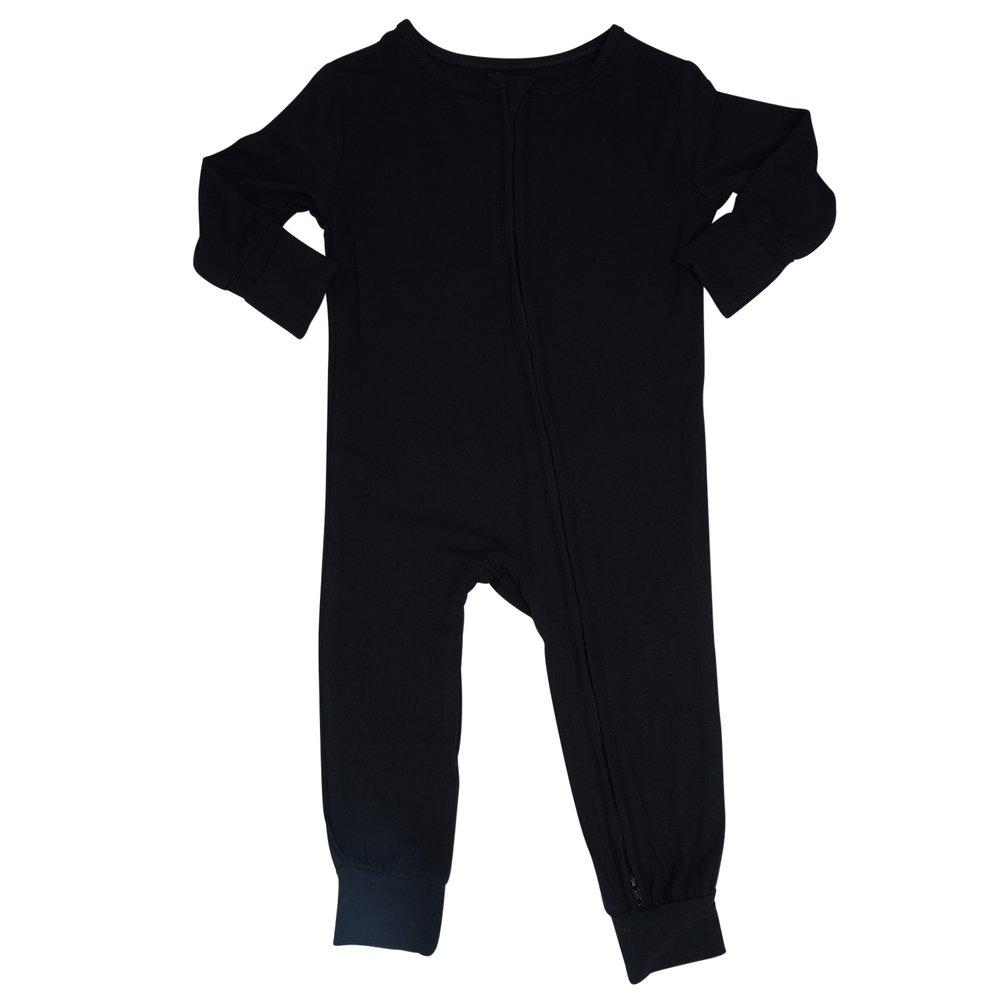 Piped Zipper Romper - Black sweetbambooclothing