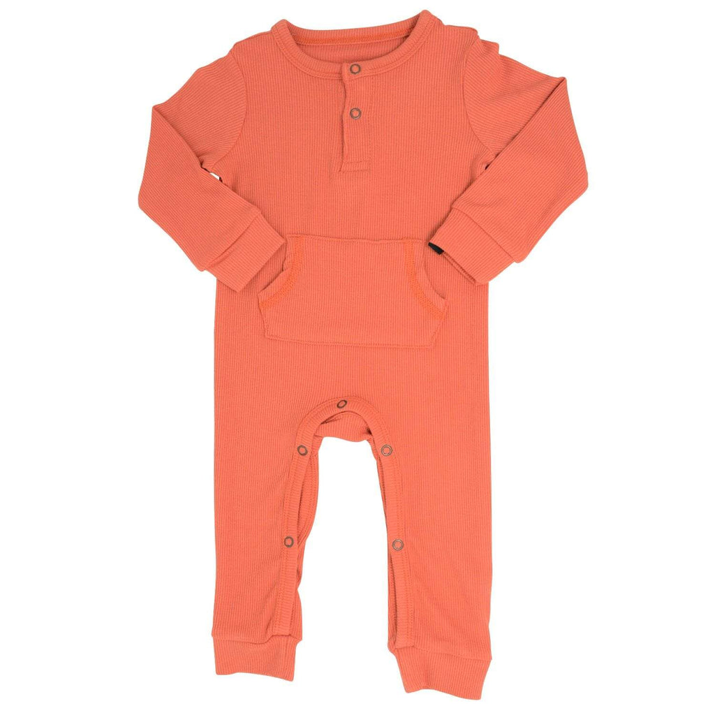 Pocket Romper - Apricot Ribbed - Sweet Bamboo