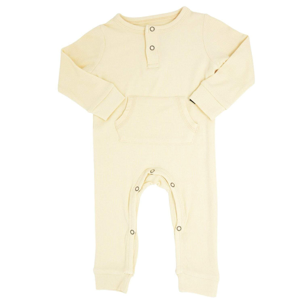 Pocket Romper - Bleached Sand Ribbed - Sweet Bamboo