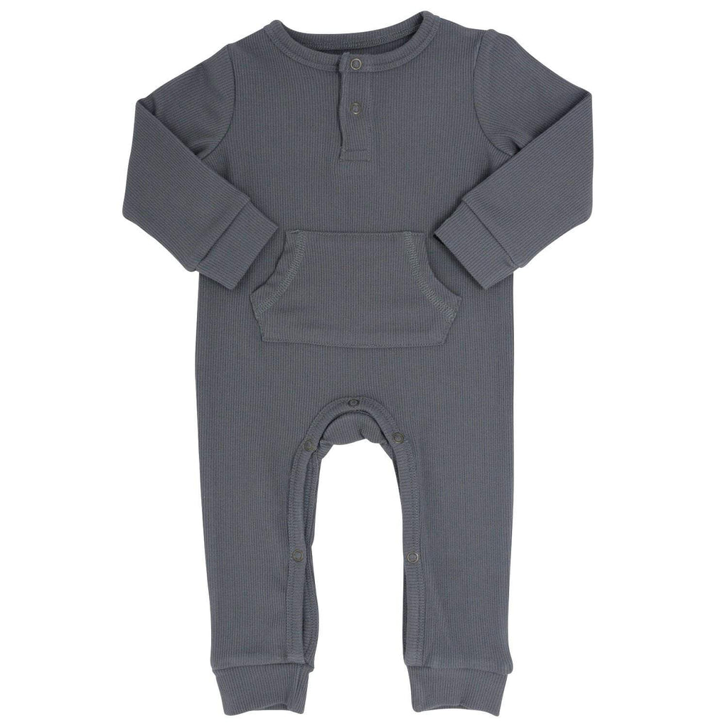 Pocket Romper - Charcoal Ribbed - Sweet Bamboo