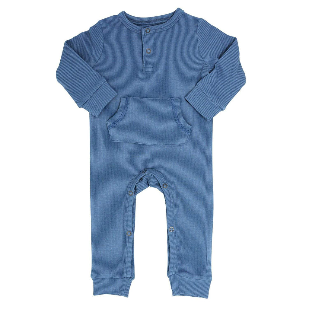 Pocket Romper - China Blue Ribbed - Sweet Bamboo