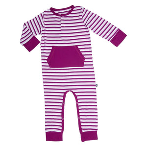 Pocket Romper - Cranberry Stripe - Sweet Bamboo