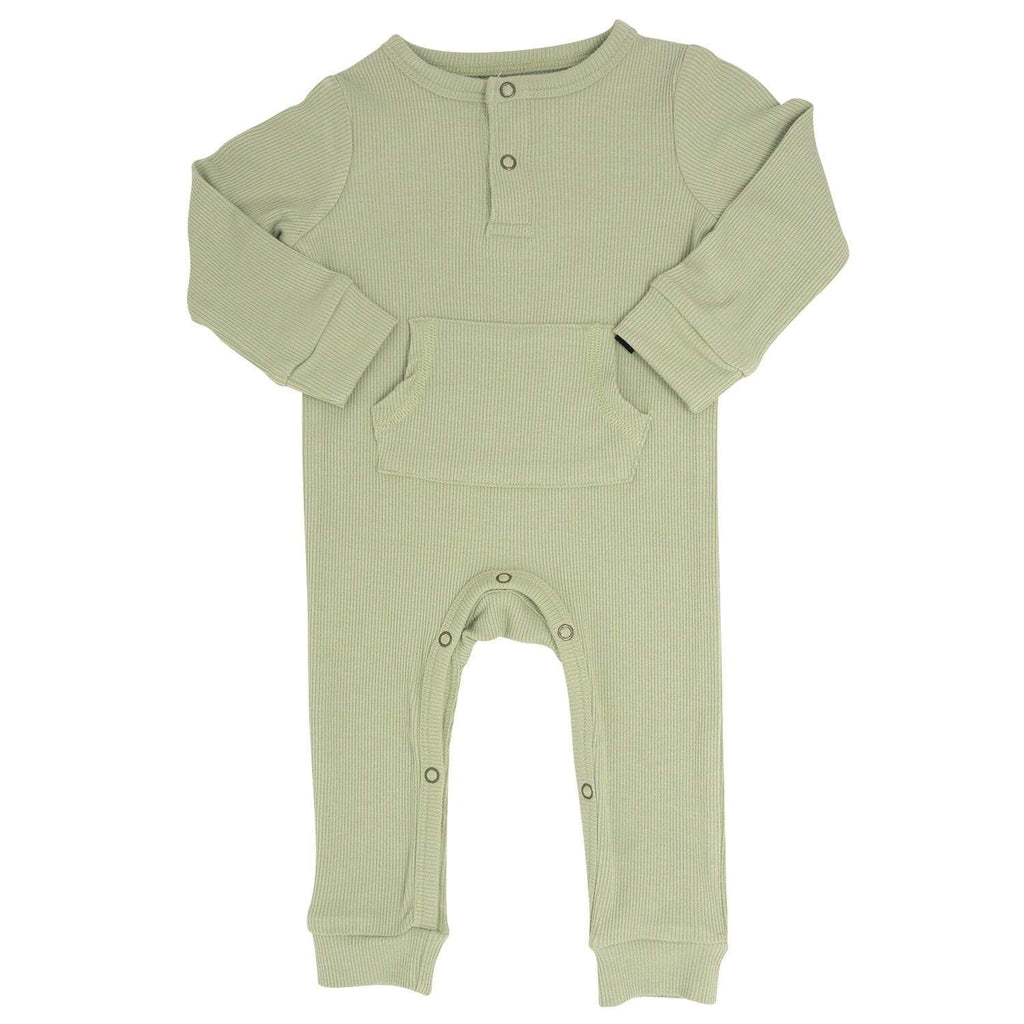 Pocket Romper - Desert Sage Ribbed - Sweet Bamboo