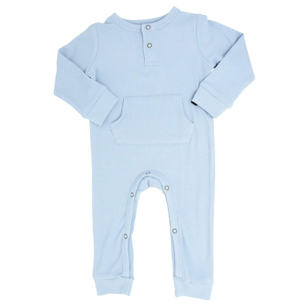 Pocket Romper - Dusty Blue Ribbed - Sweet Bamboo
