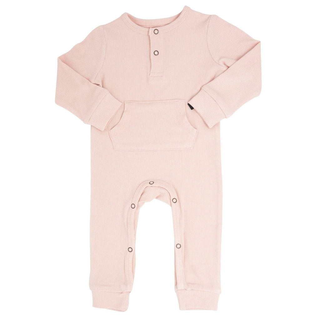 Pocket Romper - Pink Blush Ribbed - Sweet Bamboo