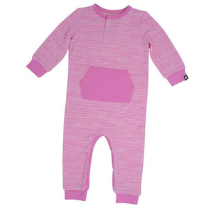 Pocket Romper - Pink Chalk Lines - Sweet Bamboo