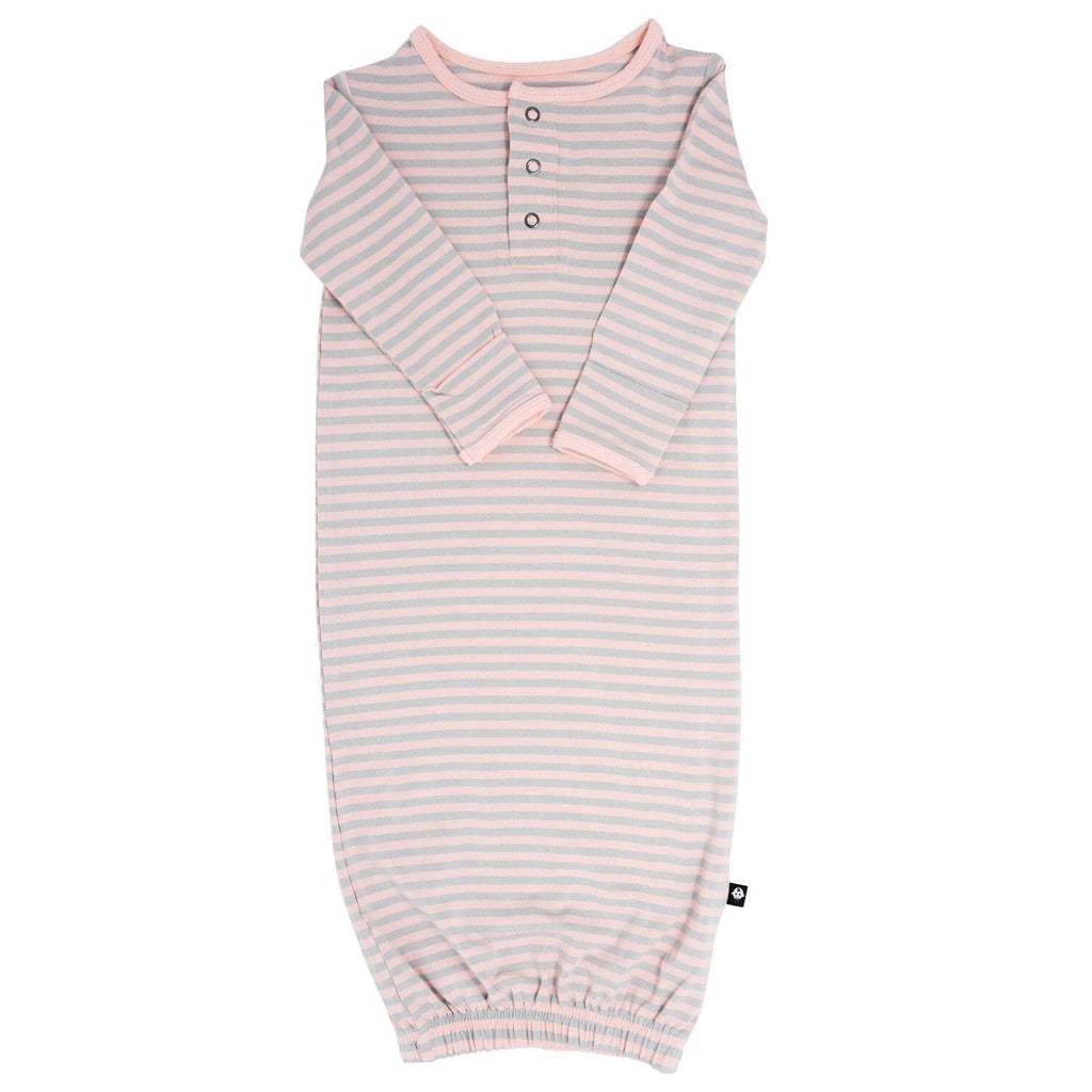 Receiving Gown - Pink & Grey Stripe - Sweet Bamboo