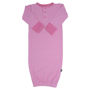Receiving Gown -Pink Houndstooth - Sweet Bamboo