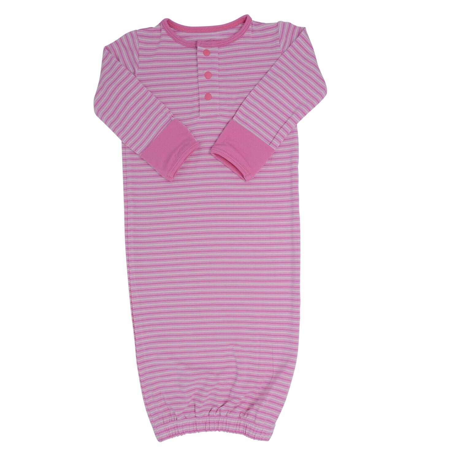 Receiving Gown - Pink Ticking Stripe - Sweet Bamboo