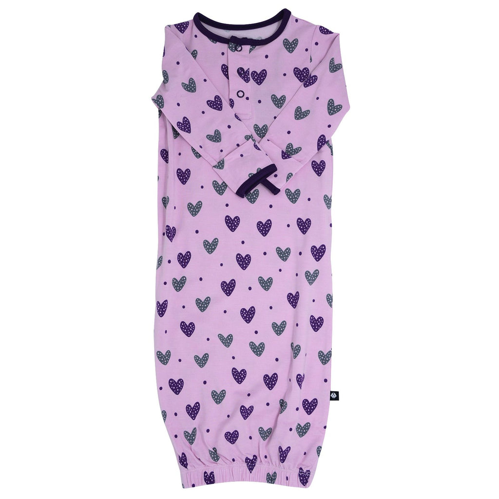 Receiving Gown -Purple Hearts sweetbambooclothing