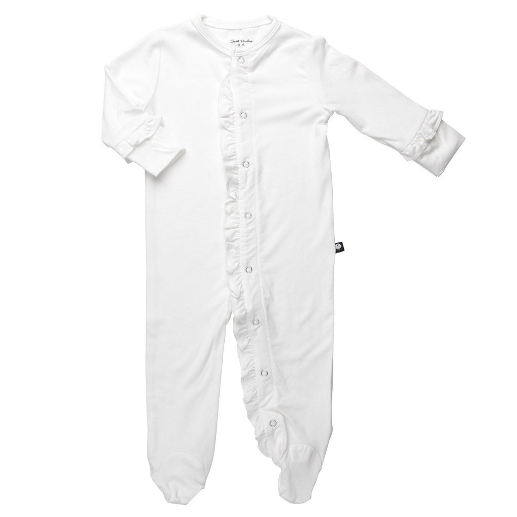 Ruffle Footie-Whispery White - Sweet Bamboo