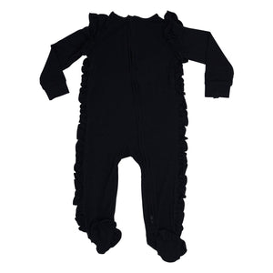 Ruffle Zipper Footie - Black Solid - Sweet Bamboo