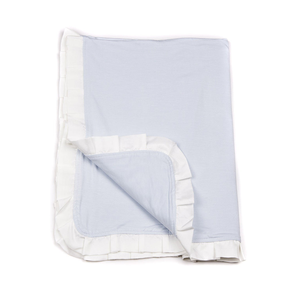 Silk Ruffle Blanket - Bashful Blue - Sweet Bamboo