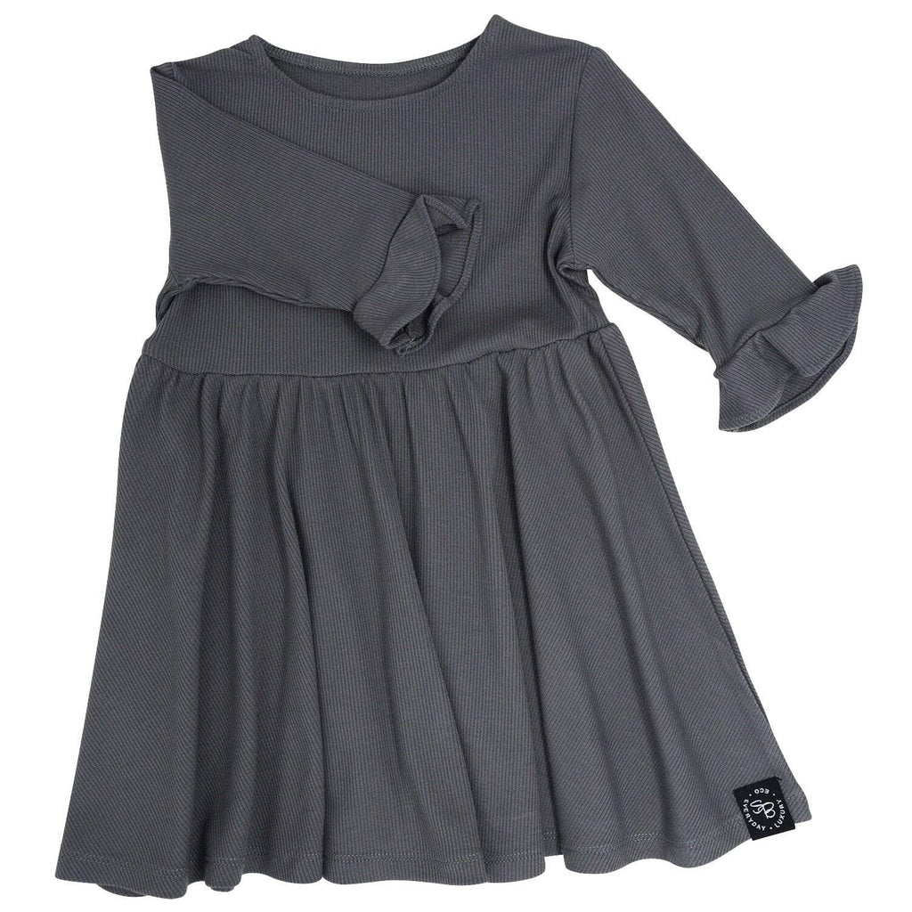 Southern Sweetheart Dress - Charcoal Ribbed - Sweet Bamboo