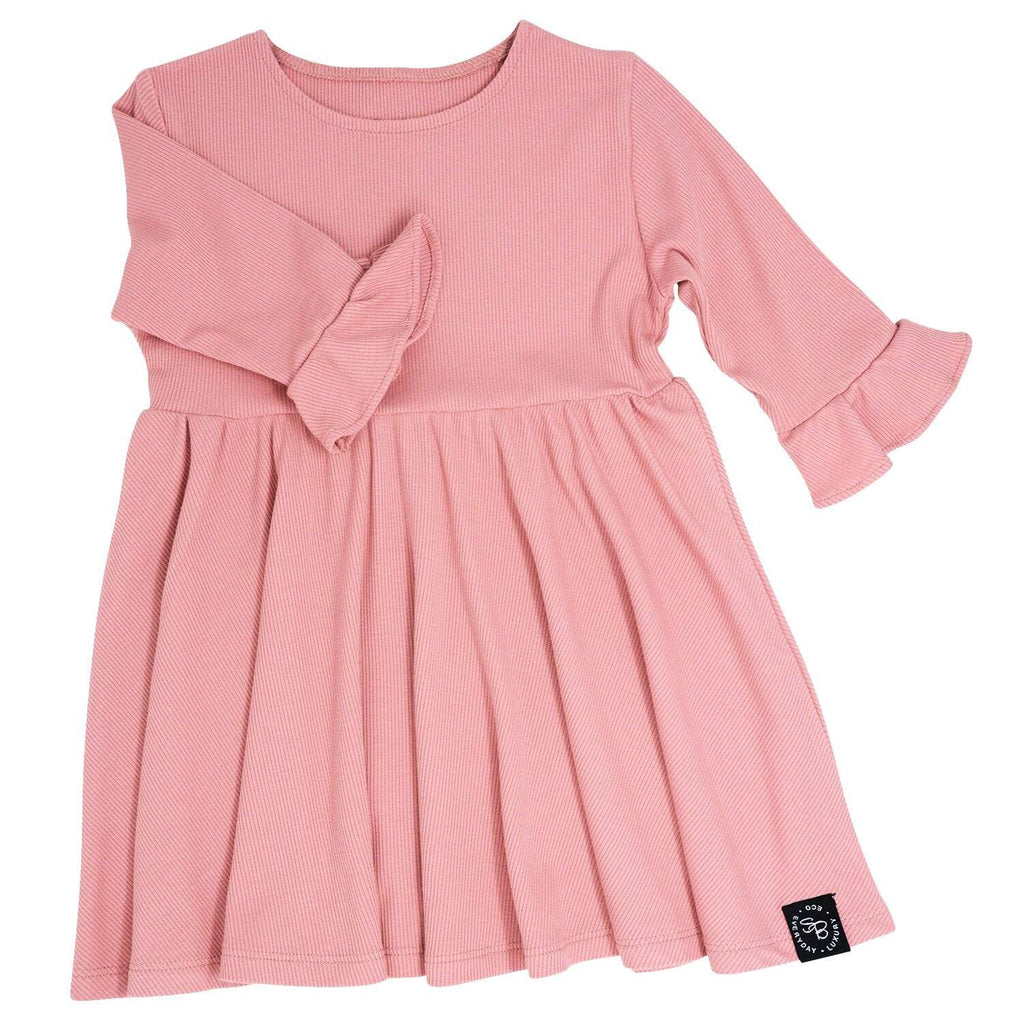 Southern Sweetheart Dress - Dusty Pink Ribbed - Sweet Bamboo