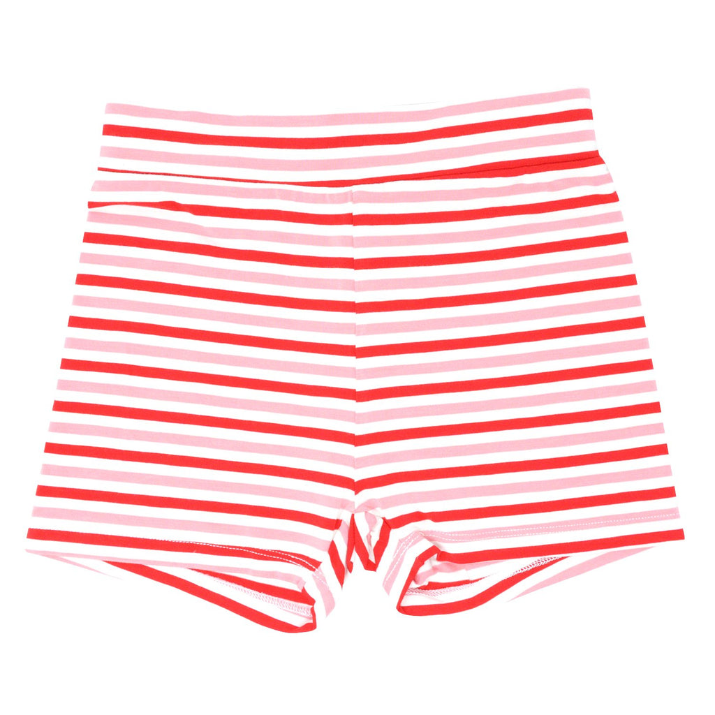 Sport Shorts - Strawberry & Pink Stripe Bottoms sweetbambooclothing