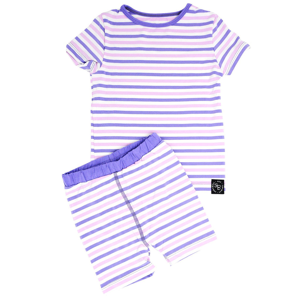 Summer PJ 2pc Set - Purple & Orchid Stripe Big Kid PJ's sweetbambooclothing