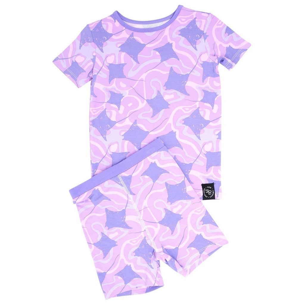 Summer PJ 2pc Set - Purple Stingray Big Kid PJ's sweetbambooclothing