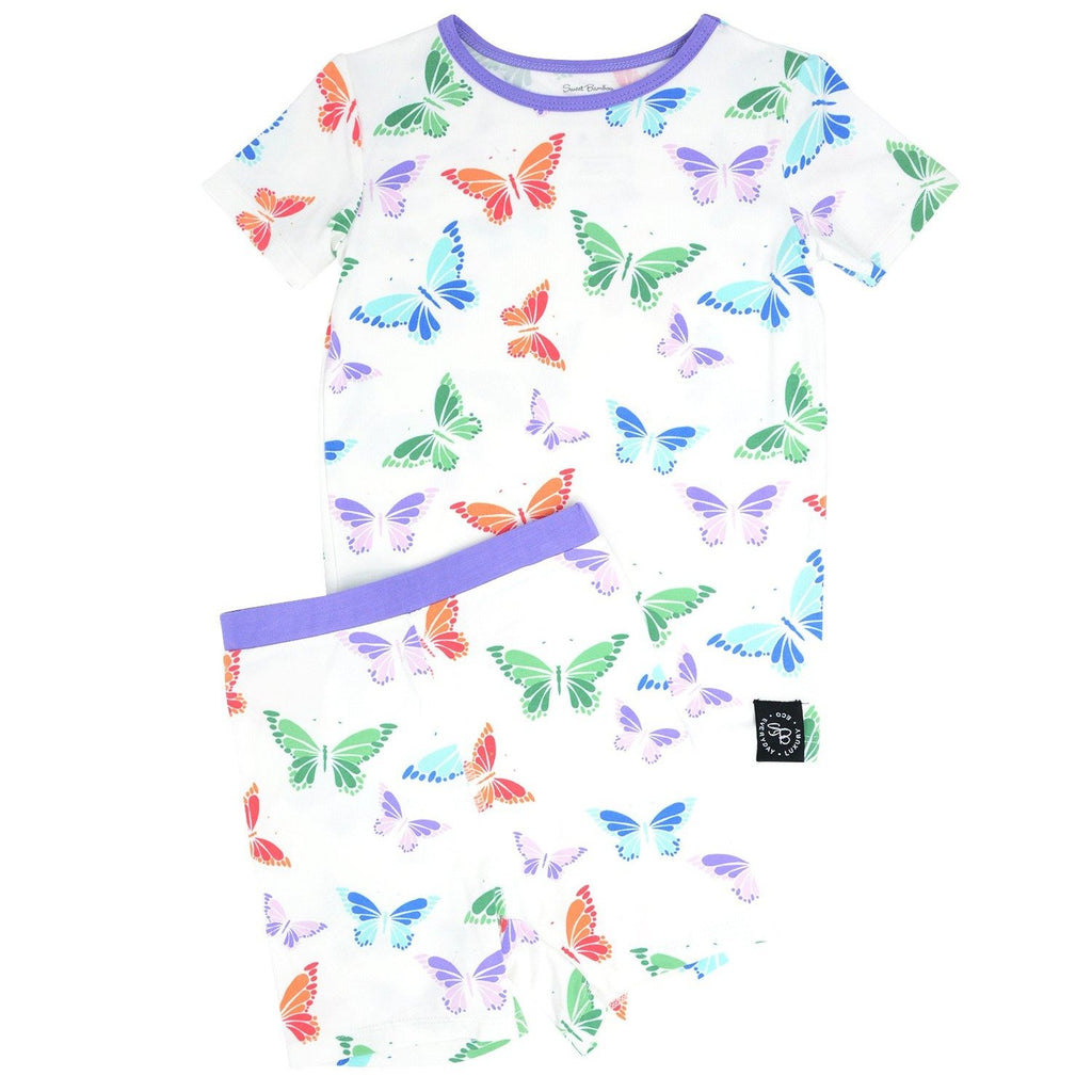 Summer PJ 2pc Set - Rainbow Butterflies Big Kid PJ's sweetbambooclothing