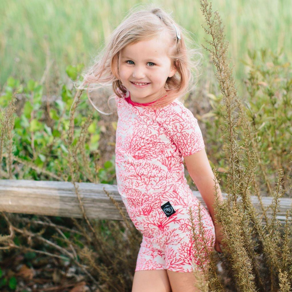 Summer PJ 2pc Set - Red Coral Big Kid PJ's sweetbambooclothing