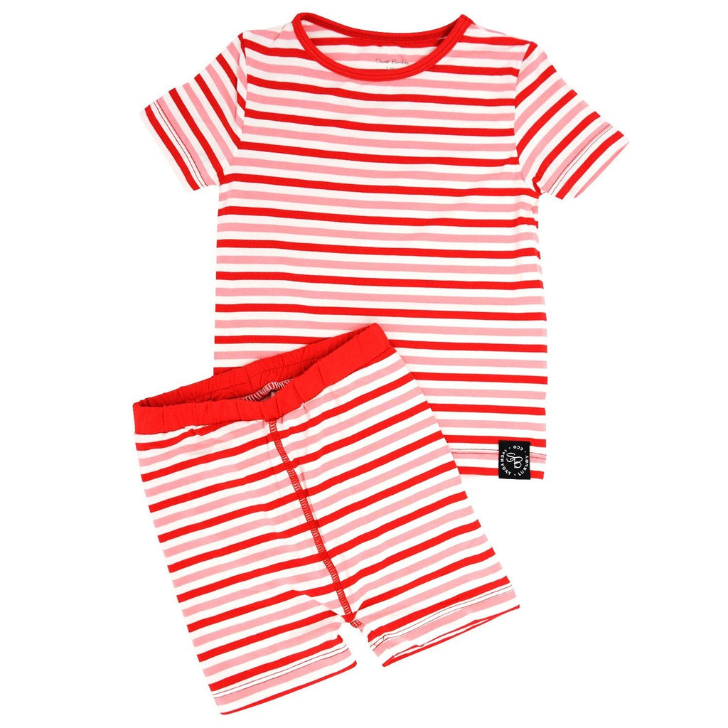 Summer PJ 2pc Set - Strawberry & Pink Stripe Big Kid PJ's sweetbambooclothing