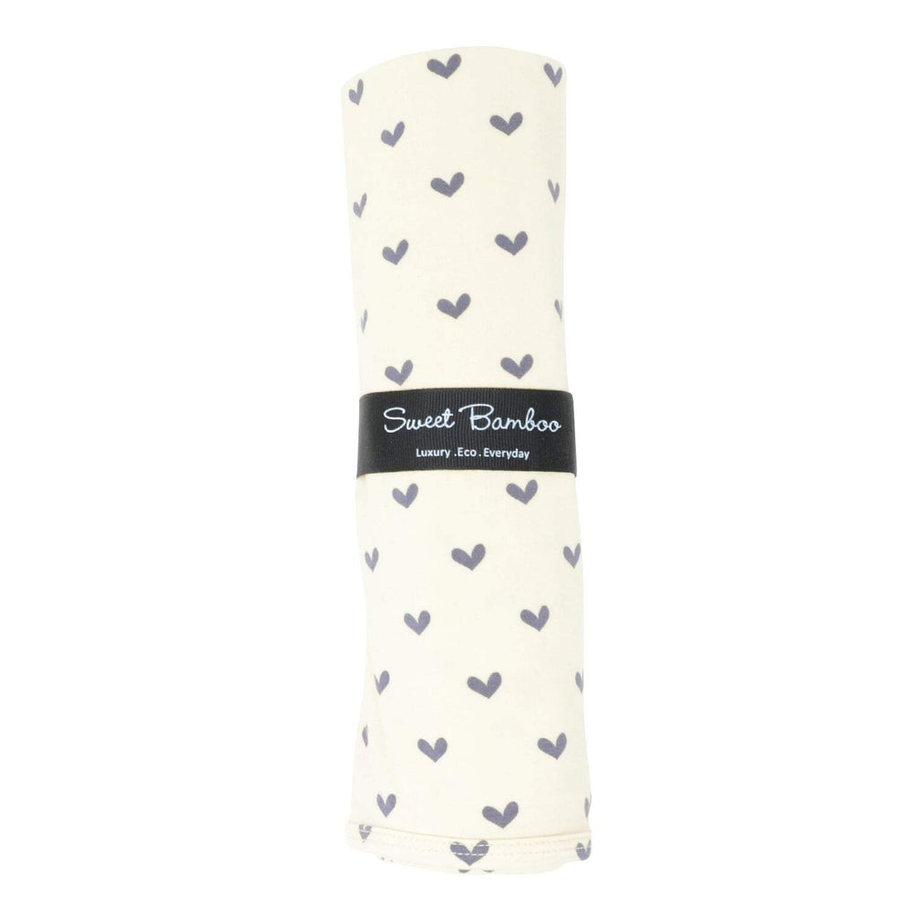 Oversized Swaddle - Polka Hearts Black - Sweet Bamboo