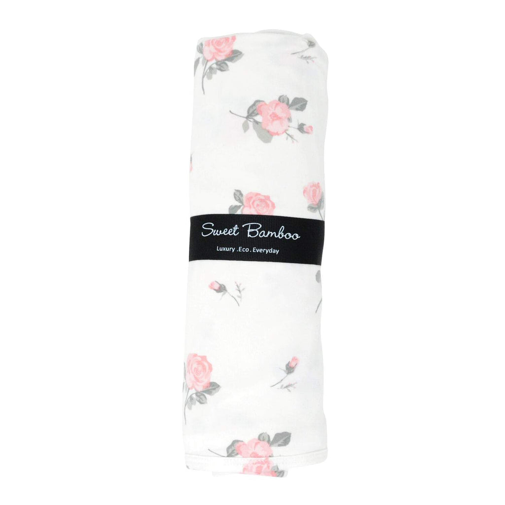 Oversized Swaddle - Roses White - Sweet Bamboo