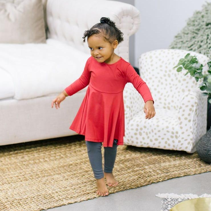 Swirly Girl Dress - Red Solid Holiday sweetbambooclothing