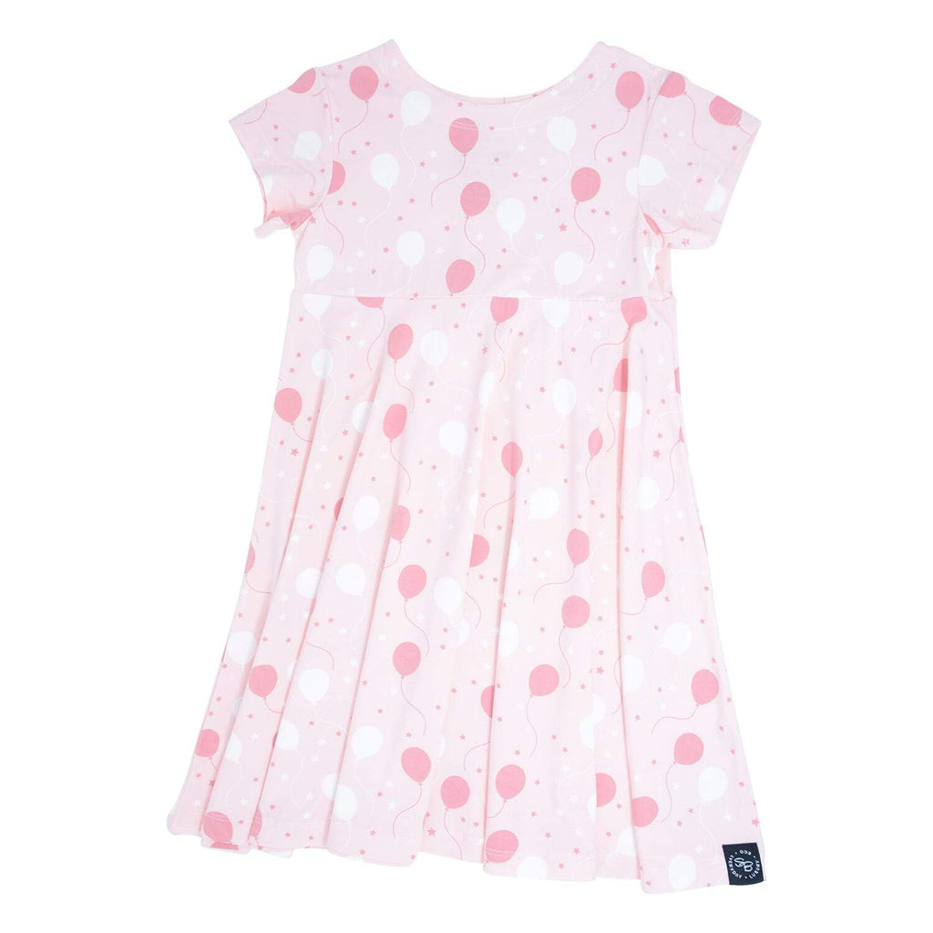 Swirly Girl Dress w/Cap Sleeve - Pink Balloons - Sweet Bamboo